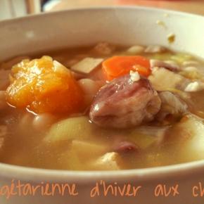 Soupe complète à la citrouille et aux châtaignes(vegan)