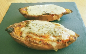 Patate douce rôtie et garnie (merci Les cookines!) (végétarien ouvegan)
