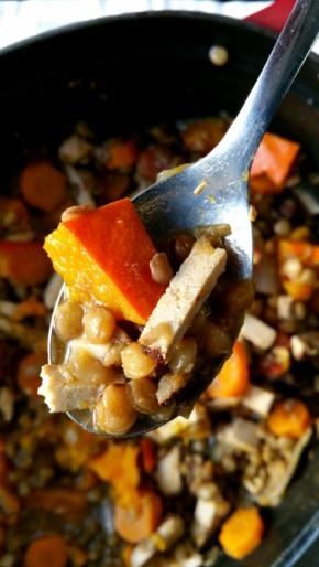 Potée d'automne : lentilles/tofu fumé/potimarron/carottes (vegan)
