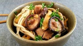 Nouilles ramen sautées, aux shiitakés et au lupin(vegan)