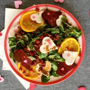 Salade d'hiver pour deux… Topinambour, betterave, orange & grenade(vegan)