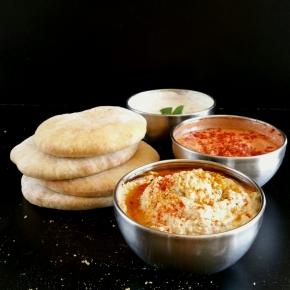 Apéro Libanais : Houmous, sauce crémeuse aux herbes, muhammara (vegan) (Foodista Challenge#17)
